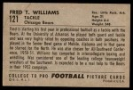 1952 Bowman Large #121  Fred Williams  Back Thumbnail