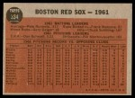 1962 Topps #334   Red Sox Team Back Thumbnail
