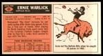 1965 Topps #44  Ernie Warlick  Back Thumbnail