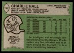 1978 Topps #157  Charlie Hall  Back Thumbnail