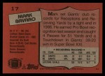 1987 Topps #17  Mark Bavaro  Back Thumbnail