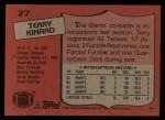 1987 Topps #27  Terry Kinard  Back Thumbnail