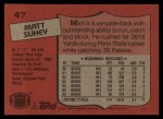 1987 Topps #47  Matt Suhey  Back Thumbnail