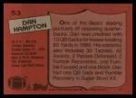 1987 Topps #53  Dan Hampton  Back Thumbnail