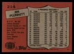 1987 Topps #214  Jim Plunkett  Back Thumbnail