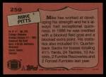 1987 Topps #259  Mike Pitts  Back Thumbnail