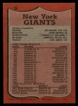 1987 Topps #9   -  Joe Morris / Mark Bavard / Terry Kinard / Perry Williams / Lawrence Taylor / Carl Banks Giants Leaders Back Thumbnail