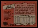 1987 Topps #11  Joe Morris  Back Thumbnail