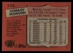 1987 Topps #101  Stanley Morgan  Back Thumbnail