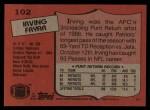 1987 Topps #102  Irving Fryar  Back Thumbnail