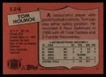 1987 Topps #124  Tom Holmoe  Back Thumbnail