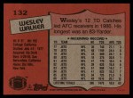 1987 Topps #132  Wesley Walker  Back Thumbnail