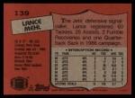 1987 Topps #139  Lance Mehl  Back Thumbnail