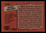 1987 Topps #209  Keith Millard  Back Thumbnail