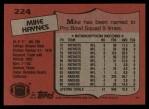 1987 Topps #224  Mike Haynes  Back Thumbnail