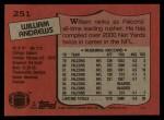 1987 Topps #251  William Andrews  Back Thumbnail