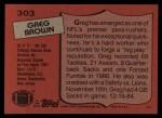 1987 Topps #303  Greg Brown  Back Thumbnail