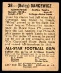 1948 Leaf #38  Frank Dancewicz  Back Thumbnail