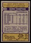 1979 Topps #129  Norm Thompson  Back Thumbnail