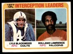 1978 Topps #335   -  Lyle Blackwood / Rolland Lawrence Interception Leaders Front Thumbnail