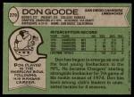 1978 Topps #279  Don Goode  Back Thumbnail