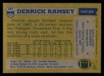 1982 Topps #197  Derrick Ramsey  Back Thumbnail