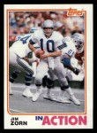 1982 Topps #256   -  Jim Zorn In Action Front Thumbnail