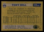 1982 Topps #316  Tony Hill  Back Thumbnail