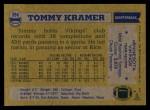 1982 Topps #394  Tommy Kramer  Back Thumbnail