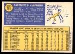 1970 Topps #205  Bert Campaneris  Back Thumbnail