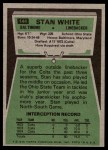 1975 Topps #144  Stan White  Back Thumbnail