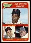 1965 Topps #1   -  Tony Oliva / Brooks Robinson / Elston Howard AL Batting Leaders Front Thumbnail