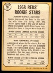 1968 Topps #247 THE  -  Johnny Bench / Ron Tompkins Reds Rookies  Back Thumbnail