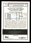 1992 Topps #715  Bucky Richardson  Back Thumbnail