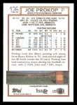 1992 Topps #126  Joe Prokop  Back Thumbnail