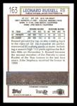1992 Topps #163  Leonard Russell  Back Thumbnail