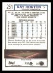 1992 Topps #231  Ray Horton  Back Thumbnail