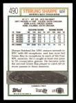 1992 Topps #490  Sterling Sharpe  Back Thumbnail