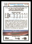 1992 Topps #588  David Griggs  Back Thumbnail