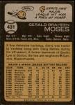1973 Topps #431  Gerry Moses  Back Thumbnail