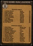 1973 Topps #62   -  Johnny Bench / Rich Allen HR Leaders Back Thumbnail