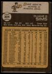 1973 Topps #304  Duke Sims  Back Thumbnail