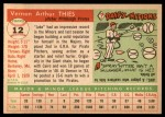 1955 Topps #12  Jake Thies  Back Thumbnail