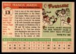 1955 Topps #13  Fred Marsh  Back Thumbnail