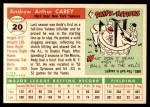 1955 Topps #20  Andy Carey  Back Thumbnail