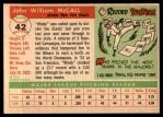 1955 Topps #42  Windy McCall  Back Thumbnail