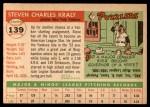 1955 Topps #139  Steve Kraly  Back Thumbnail