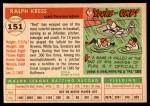 1955 Topps #151  Red Kress  Back Thumbnail