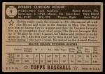 1952 Topps #9  Bobby Hogue  Back Thumbnail