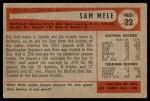 1954 Bowman #22 OF Sam Mele  Back Thumbnail